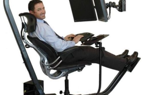 work at home in an ergonomic workstation and chair